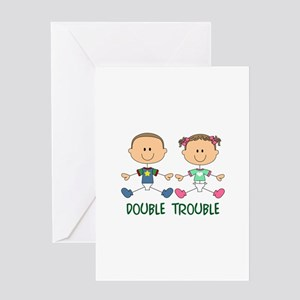 TWINS DOUBLE TROUBLE Greeting Cards