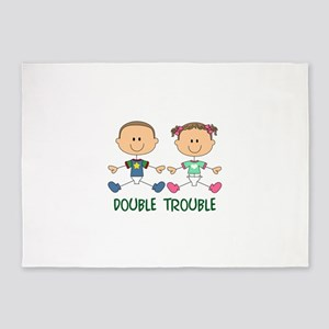TWINS DOUBLE TROUBLE 5'x7'Area Rug