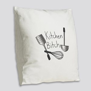 Kitchen Bitch Burlap Throw Pillow
