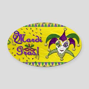Mardi Gras Jester Mask Oval Car Magnet