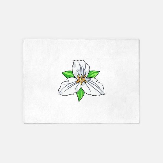 TRILLIUM FLOWER 5'x7'Area Rug