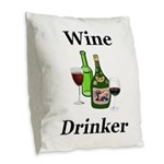 Wine Drinker Burlap Throw Pillow