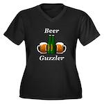 Beer Guzzler Women's Plus Size V-Neck Dark T-Shirt