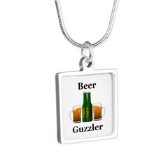 Beer Guzzler Silver Square Necklace