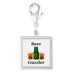 Beer Guzzler Silver Square Charm