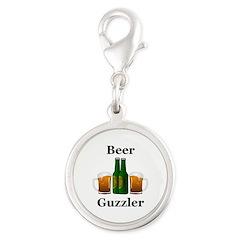 Beer Guzzler Silver Round Charm