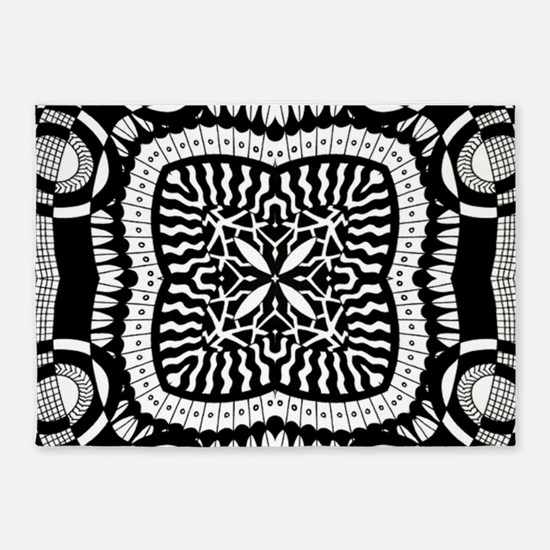 Retro Black and White Pattern 5'x7'Area Rug