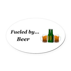 Fueled by Beer Oval Car Magnet