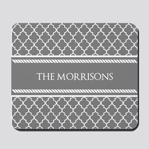 Gray White Moroccan Personalized Mousepad