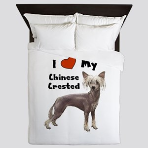 Chinese Crested I Love My Queen Duvet