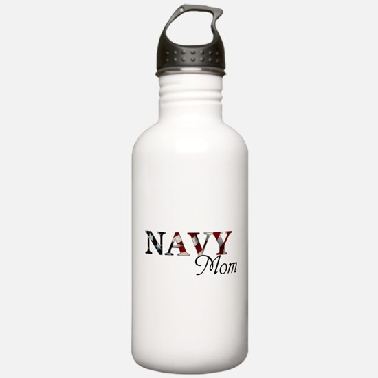 Mom Navy_flag .png Water Bottle