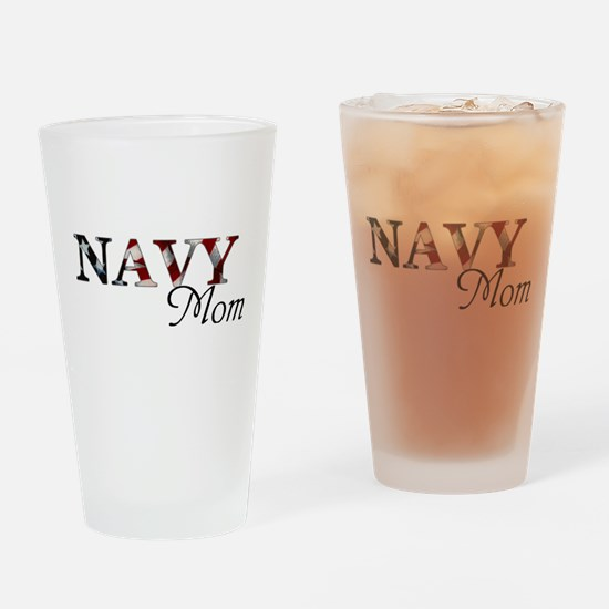 Mom Navy_flag .png Drinking Glass