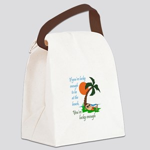 LUCKY TO BE AT BEACH Canvas Lunch Bag