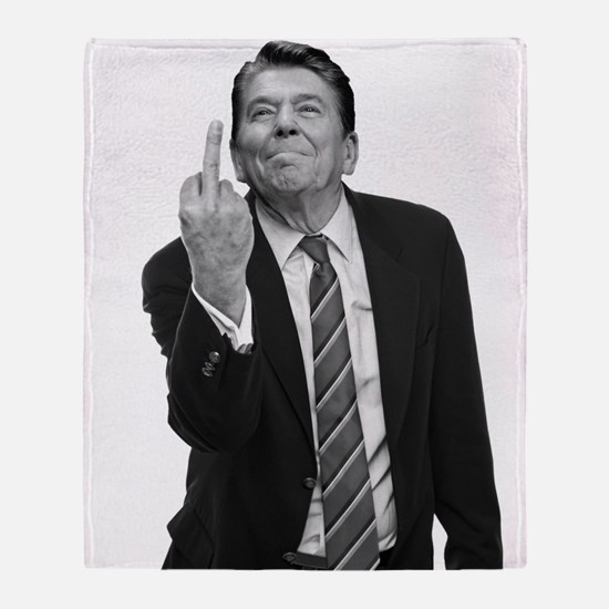 Ronald Reagan Middle Finger Throw Blanket