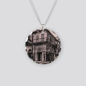 French Quarter Absinthe Hous Necklace Circle Charm