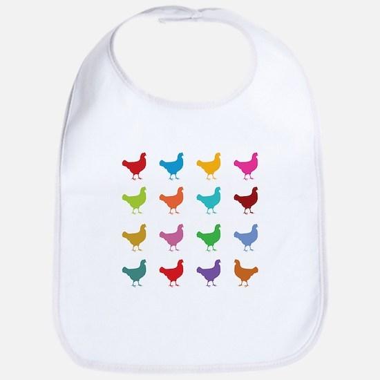 Colorful Chickens Bib