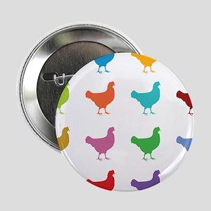 "Colorful Chickens 2.25"" Button"