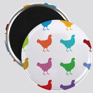 Colorful Chickens Magnets
