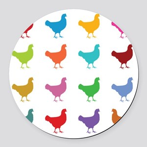 Colorful Chickens Round Car Magnet