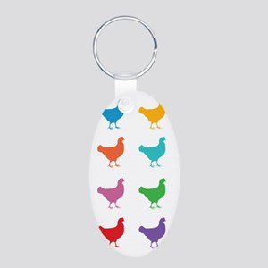 Colorful Chickens Keychains
