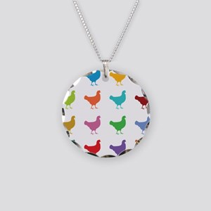 Colorful Chickens Necklace Circle Charm