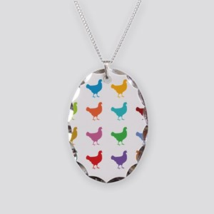 Colorful Chickens Necklace Oval Charm
