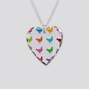 Colorful Chickens Necklace Heart Charm