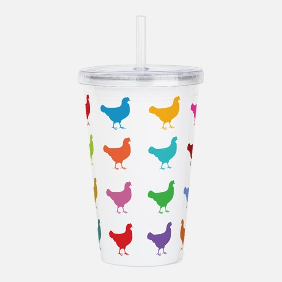 Colorful Chickens Acrylic Double-wall Tumbler