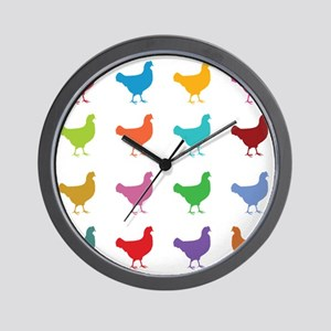 Colorful Chickens Wall Clock