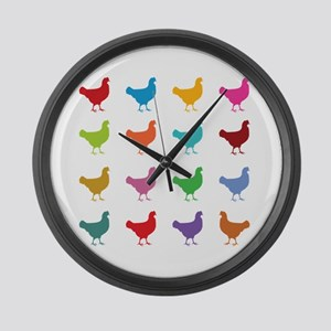 Colorful Chickens Large Wall Clock