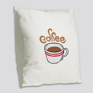 HOT COFFEE Burlap Throw Pillow