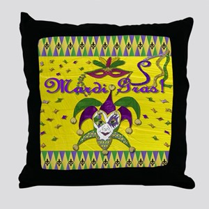 Mardi Gras Jester Mask Throw Pillow