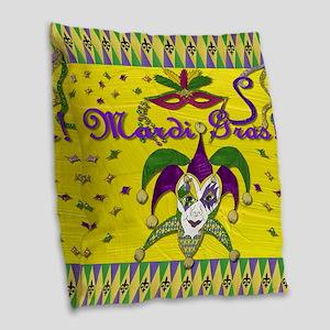 Mardi Gras Jester Mask Burlap Throw Pillow