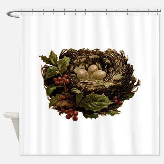 Vintage Birds Nest Eggs and Christm Shower Curtain