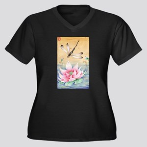 Lotus Dragonfly Art Plus Size T-Shirt