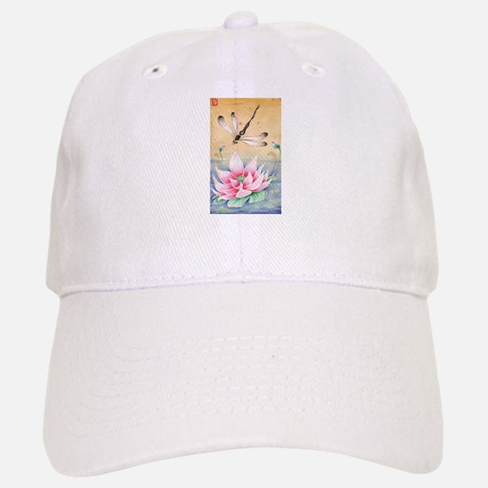 Lotus Dragonfly Art Baseball Baseball Cap