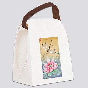 Lotus Dragonfly Art Canvas Lunch Bag