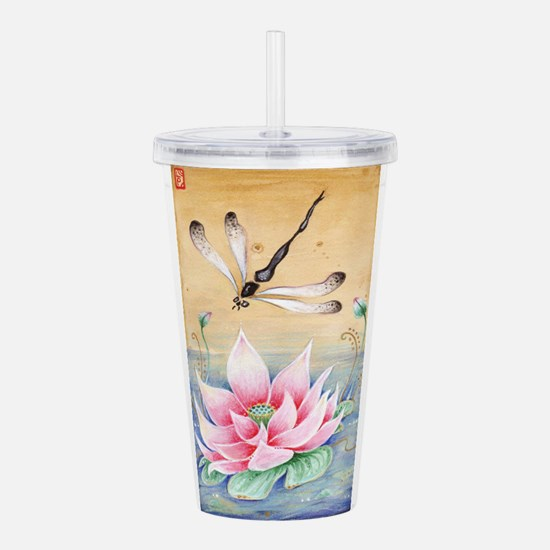 Lotus Dragonfly Art Acrylic Double-wall Tumbler