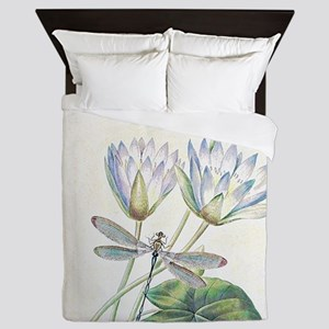 Lotus and dragonfly Queen Duvet