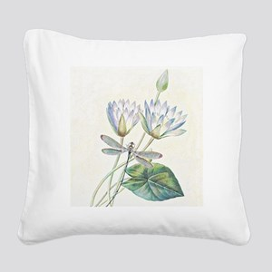 Lotus and dragonfly Square Canvas Pillow