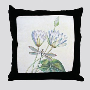 Lotus and dragonfly Throw Pillow
