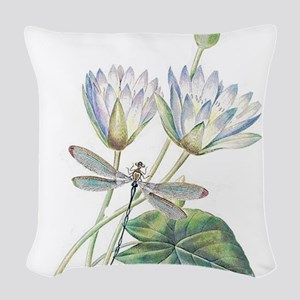 Lotus and dragonfly Woven Throw Pillow