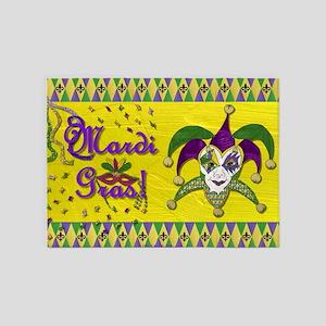 Mardi Gras Jester Mask 5'x7'Area Rug