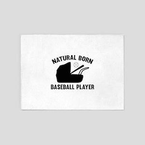 Natural Born Baseball Player 5'x7'Area Rug