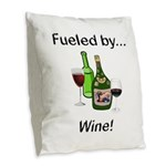 Fueled by Wine Burlap Throw Pillow