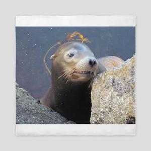 Sea Lion Having Fun Queen Duvet