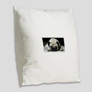 Pug Puppy Burlap Throw Pillow