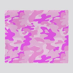 Pink Camouflage Throw Blanket