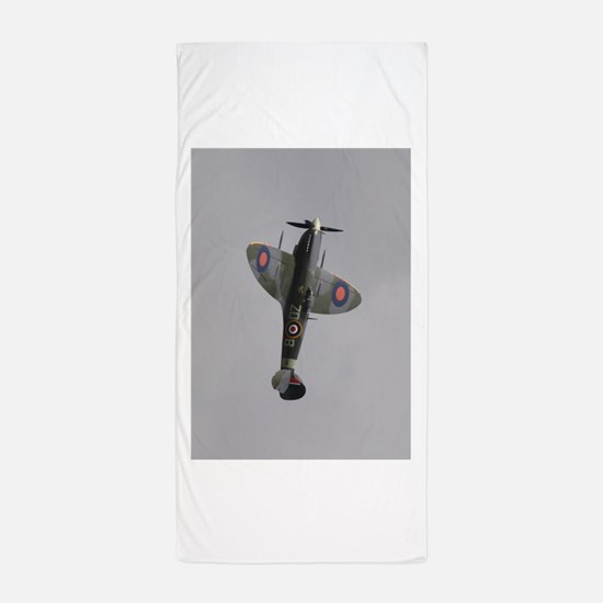 Funny Raf spitfire fighter plane Beach Towel