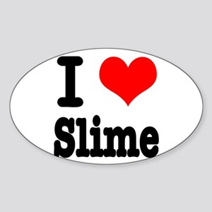 I Heart (Love) Slime Oval Sticker